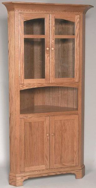 Amish New Bedford Shaker Corner Hutch