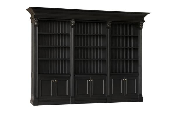 Amish Serenity Triple Library Bookcase with Beaded Back