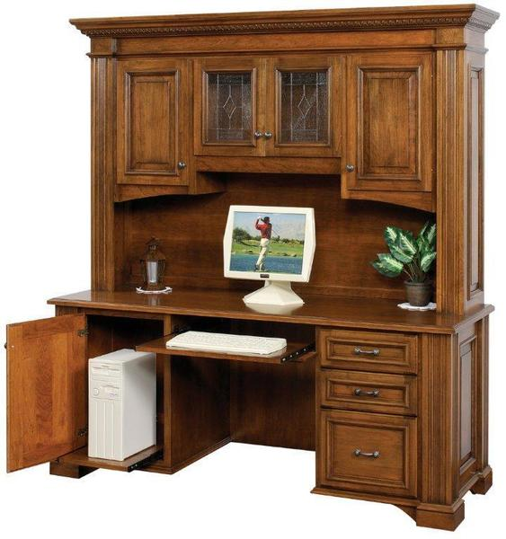 """Amish Lincoln 72"""" Credenza Desk with Optional Hutch Top"""