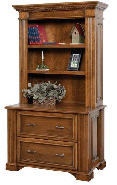 Amish Lincoln Lateral File with Optional Bookshelf Hutch