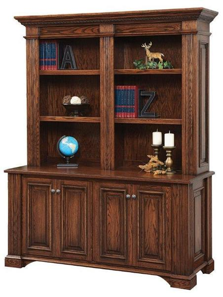 Amish Lincoln Double Credenza with Optional Bookshelf Hutch