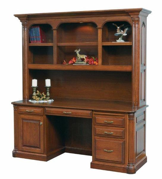Amish Jefferson Credenza Desk with Optional Hutch Top