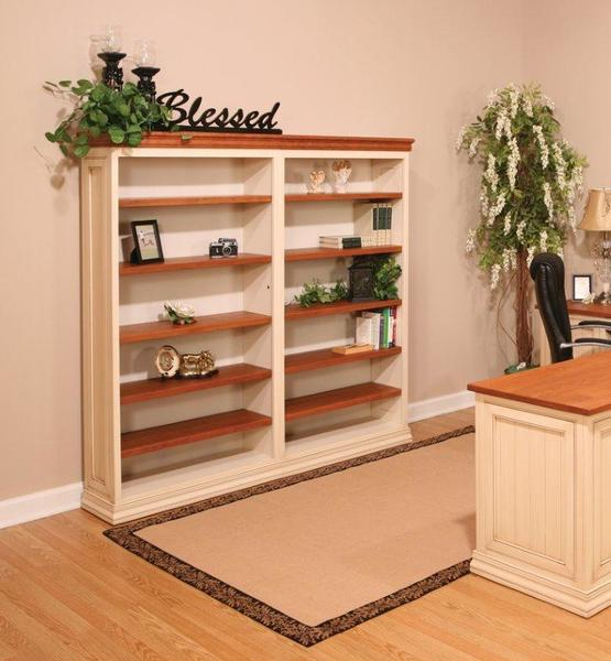 Amish Executive Office Charleston Bookcase with Paneled Sides