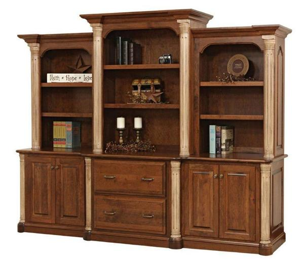Amish Jefferson Office Storage Wall Unit with Optional Bookcase Top