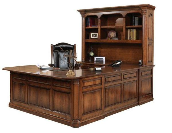 Amish Jefferson U-Shaped Desk with Optional Hutch Top