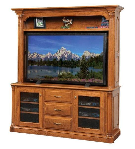 Amish Jefferson Plasma TV Stand with Optional Hutch Top