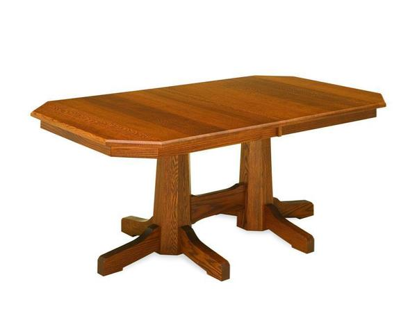 Amish Pinnacle Royal Mission Double Pedestal Table