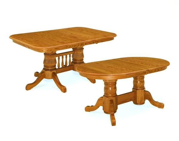 Early American Colonial Amish Double Pedestal Dining Table