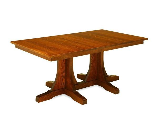Amish Double Pedestal Mission Dining Table