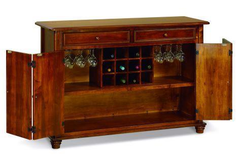 Buffet and Wine Storage Cabinet with Two Drawers and Two Bi-Fold Doors for Storage