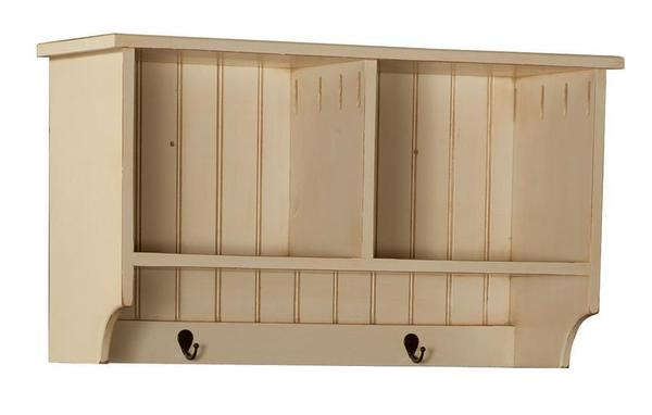 "Amish 33"" Pine Hall Shelf with Two Hooks"