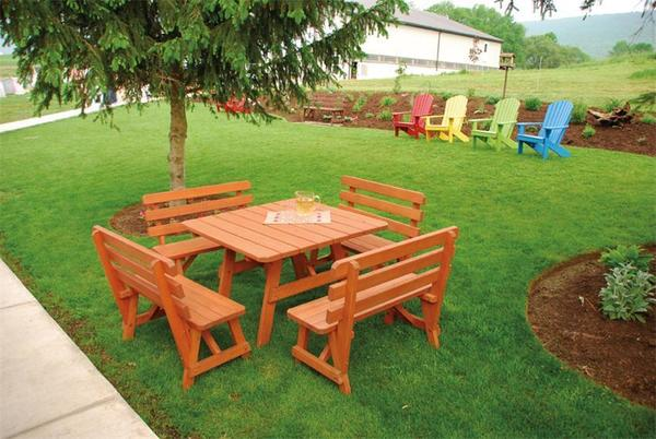 Amish Pine Outdoor Dining Set