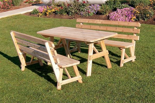 Amish Cedar Wood Table with Two Backed Benches