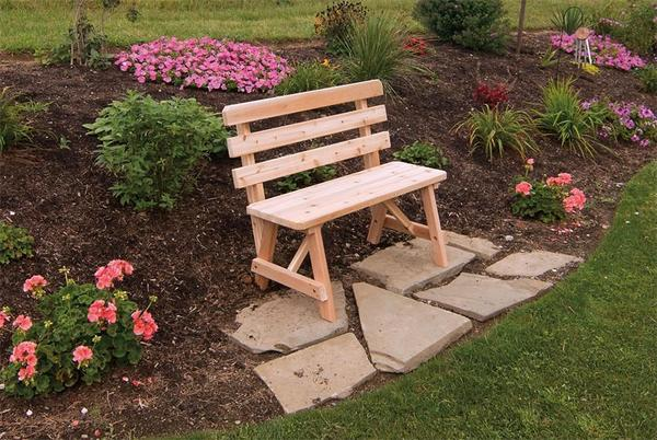 Amish Cedar Wood Backed Bench