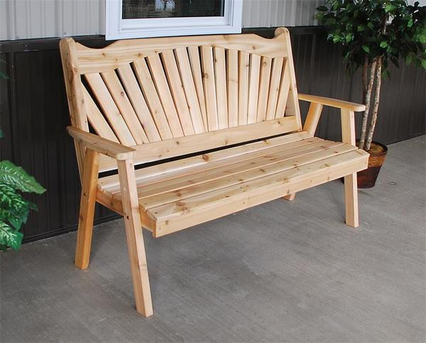 Amish Cedar Wood Fanback Garden Bench