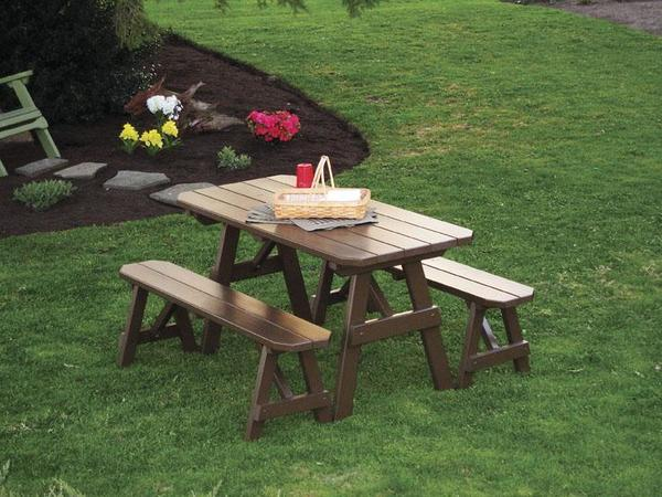 Amish Pine Wood Traditional Table with Two Benches