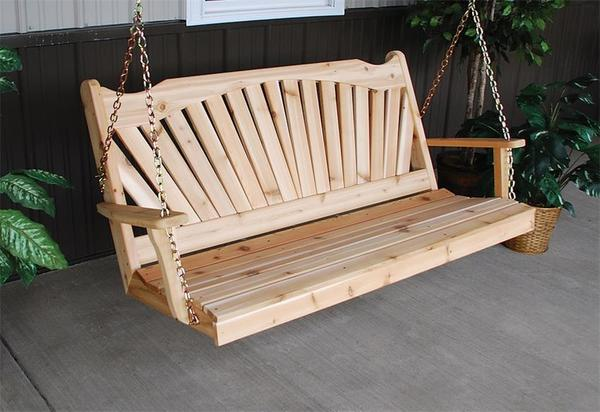 Amish Cedar Wood Fanback Swing