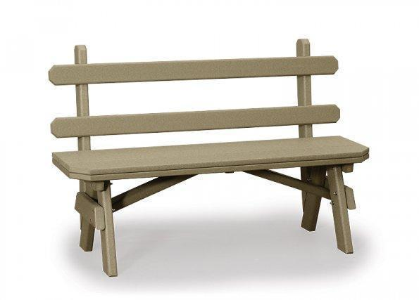 """Amish 28"""" X-Wide Poly Garden Bench with Back"""