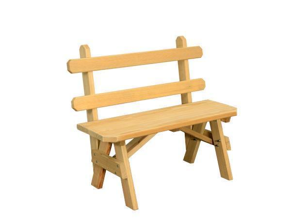 Amish Pine Wood Bench with Back