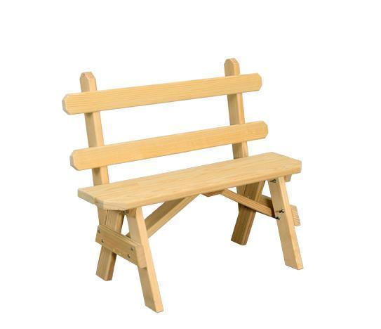 Amish Yellow Pine Wood Bench with Back