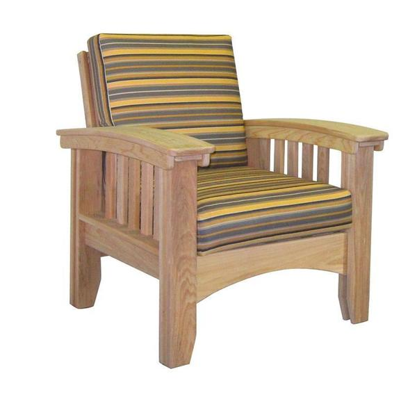 Amish Unfinished Cypress Mission Patio Lounge Chair with Cushions