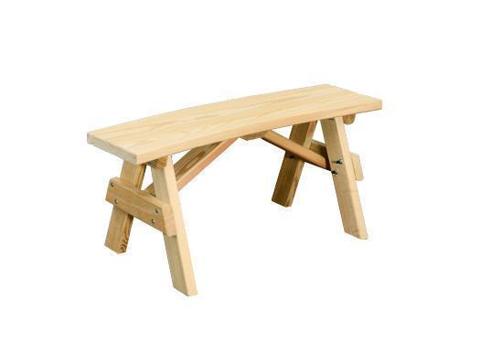 Amish Yellow Pine Wood Curved Backless Bench