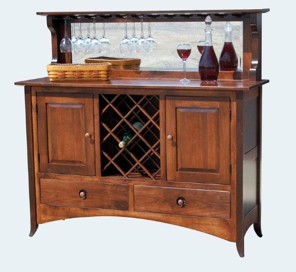 Shaker Style Buffet with Wine Cabinet and Storage