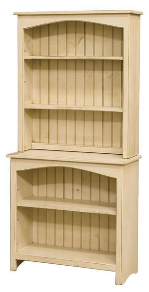 Amish Primitive Pine Bookcase with Hutch