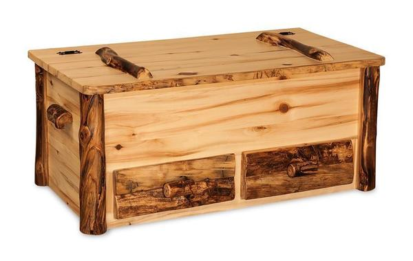 Amish Rustic Log Hope Chest with Drawers