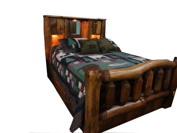 Amish Rustic Pine Log Bed with Bookcase Headboard and Spindle Footboard
