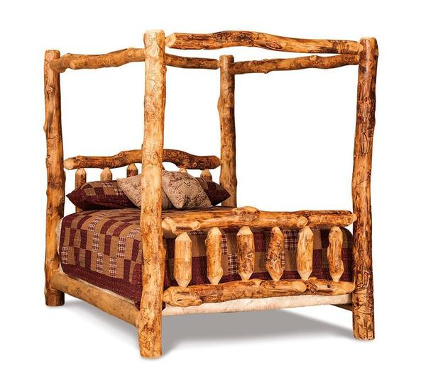 Amish Rustic Log Canopy Bed