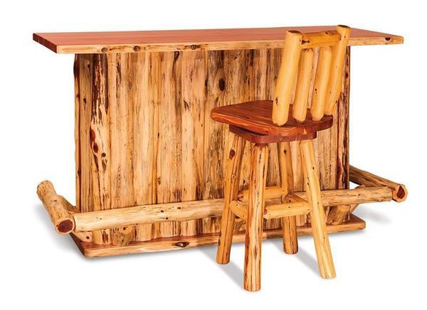 Amish Rustic Log Wood Bar