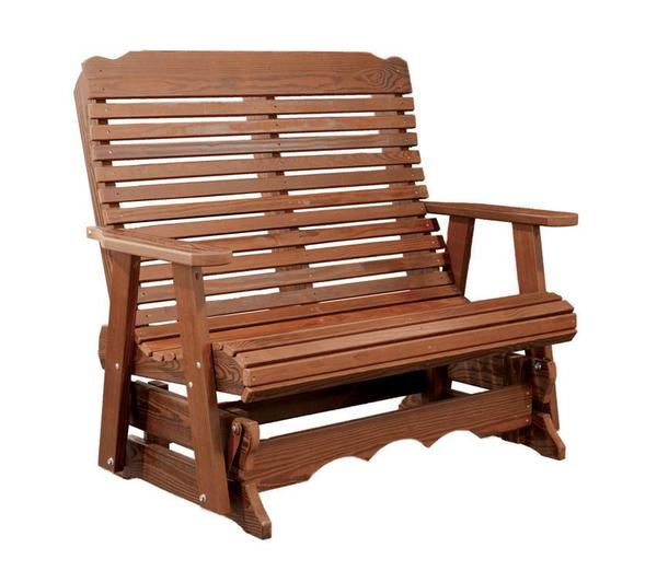Contoured Back Patio Glider Wood Bench