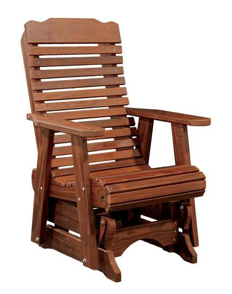 Patio Wood Glider Chair with Contoured Rounded Back
