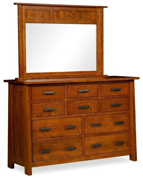 Amish Freemont Mission Dresser with Ten Drawers and Optional Mirror