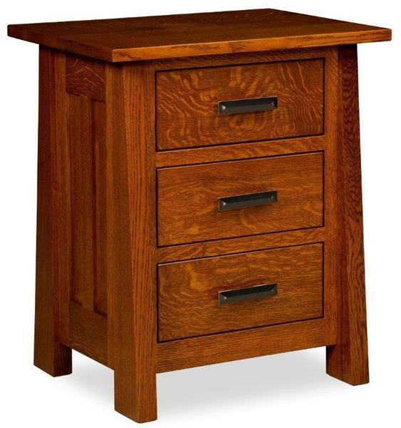 Amish Payette Mission Nightstand with Three Drawers
