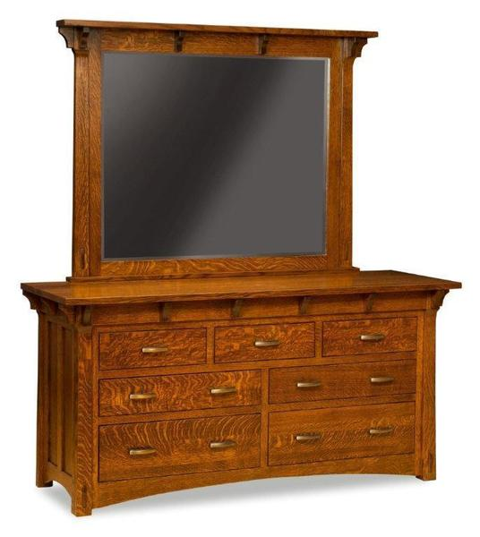 Amish Manitoba Mission Dresser with Seven Drawers and Optional Mirror