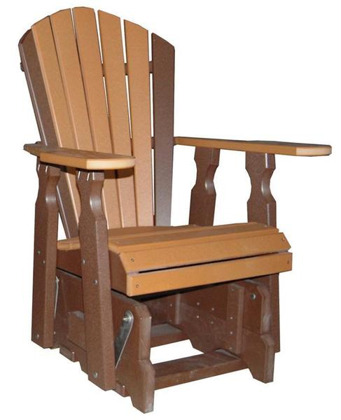 Amish Seaside Poly Composite Lumber Glider Chair with Optional Gliding Ottoman