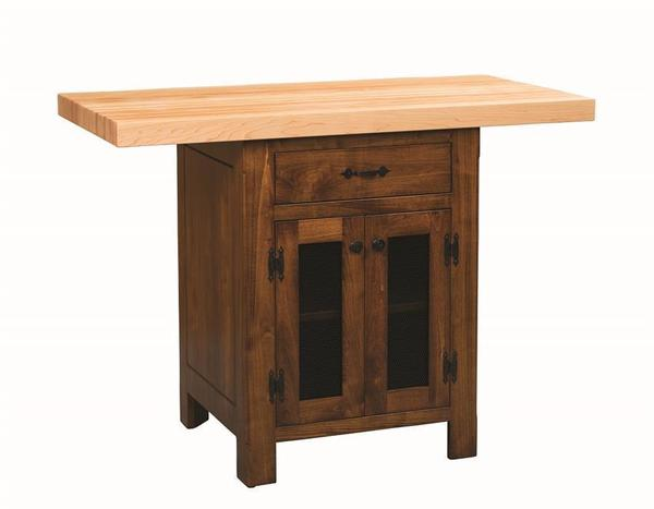 Amish Kitchen Island With Butcher Block Top and Screened Doors To Store All Your Fruits and Vegetables