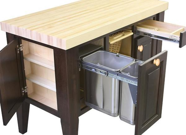 Storage Kitchen Island With Pullout Trash From DutchCrafters - Amish kitchen island