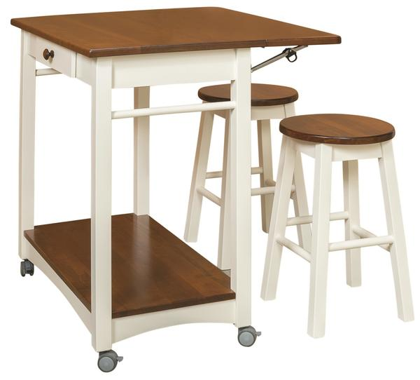 Amish Solid Wood Kitchen Island Server with Two Self-Storing Bar Stools In A Two-Tone Country White and Asbury Finish