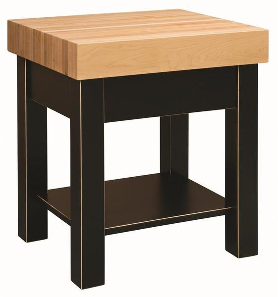 Amish 25 Inch Square Edge Grain Standing Butcher Block Kitchen Island with Paited Base