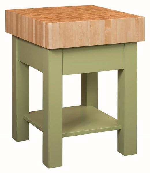 Amish 25 Inch Square End Grain Standing Butcher Block Kitchen Island with Painted Base