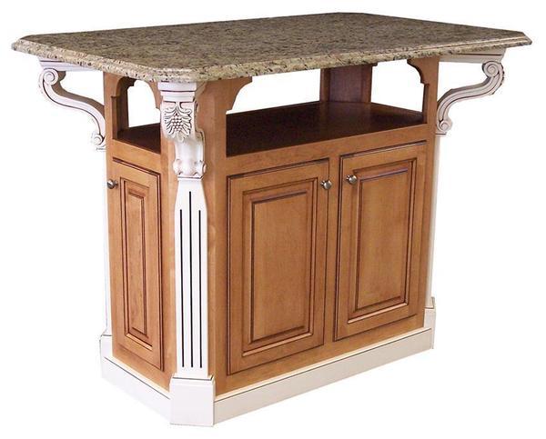 Old Century Wooden Kitchen Island Granite Top
