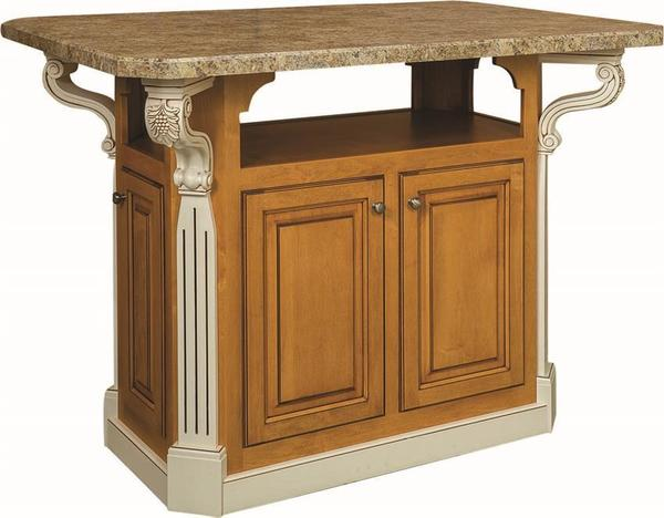 Old Century Wooden Kitchen Island Granite Top
