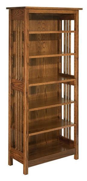 Amish Hardwood Mission Bookcase with Five Adjustable Shelves