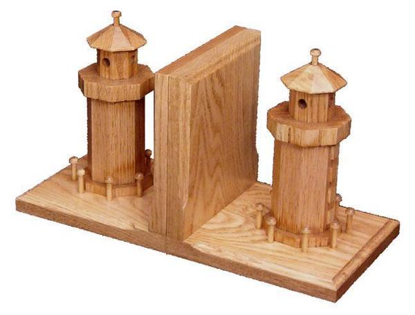 Amish Oak Wood Bookends with Wooden Lighthouse
