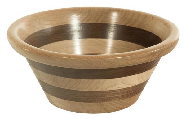 Handcrafted Decorative Striped Wood Bowl