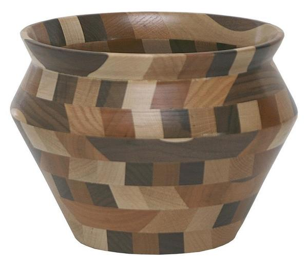 Amish Handcrafted Decorative Wood Vase Bowl