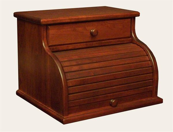 Amish Roll Top Bread Box with Drawer